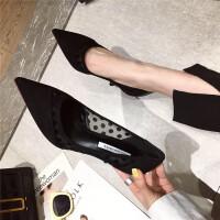 春季时尚女士高跟鞋新款舒适浅口尖头细跟休闲单鞋女鞋