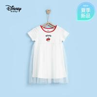 迪士尼宝宝快乐星球女童针织俏皮短袖连衣裙夏季新品