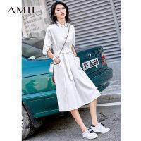 【到手价:177元】Amii极简少女学生风桔梗连衣裙2019夏新纯棉收腰拉链Polo领T恤裙