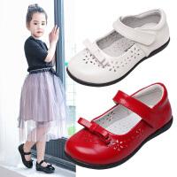 女童皮鞋2019春款公主鞋镂空方口小皮鞋真皮软底儿童单鞋