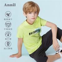 【3件3折:50.7】安奈儿童装男童吸湿速干印花T恤夏装新款休闲套头短袖T恤上衣