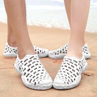 夏季洞洞鞋男士凉鞋涉水小白鞋男士拖鞋防滑沙滩鞋纯色情侣款白色