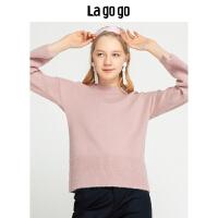 【领�幌碌チ⒓�120元无门槛优惠券】Lagogo/拉谷谷2019冬季简约时尚针织衫女HCMM43YQ25