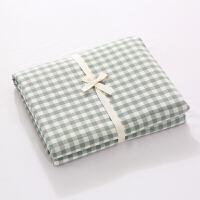 水洗棉床单单件粗布料良品简约格子纯色单双人宿舍床笠夏定制