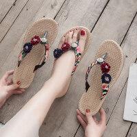 时尚平底防滑人字拖鞋女 外穿度假夹脚拖鞋女 海边可湿水凉拖鞋新款沙滩鞋