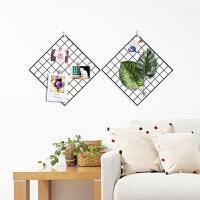 网格照片墙相框墙铁艺置物架铁架夹子相片墙装饰北欧创意个性