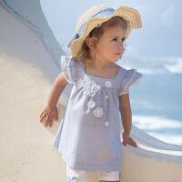 davebella戴维贝拉2020夏装新款女童套装宝宝休闲两件套DB12961