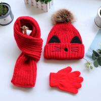 秋冬季儿童帽子围巾套装毛线针织男女童加绒保暖送手套中大童冬天