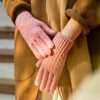 触屏手套女士冬季韩版学生针织毛线加厚保暖加绒甜美玩手机糖果色