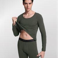 纯棉男士打底紧身保暖内衣套装V领薄款贴身保暖内衣