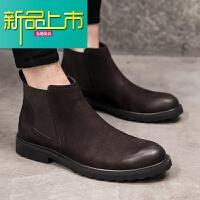 新品上市秋冬韩版靴男真皮套筒复古高帮皮靴男士马丁靴英伦时尚短靴