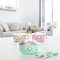 婴幼儿辅食碗不锈钢吃饭碗叉勺套装儿童餐具宝宝家用防摔碗密封碗