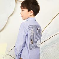 【6折价:199.26元】马拉丁童装男大童衬衫春装2020年新款洋气翻领百搭长袖衬衫