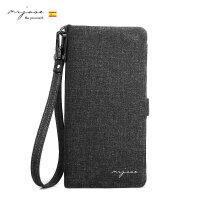 MRJASE/牧爵男士钥匙包钱包牛仔布卡包时尚新款iphone6plus手机包 黑色