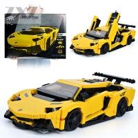 星堡积木兰博基尼跑车汽车模型兼容乐高赛车小颗粒拼装玩具儿童男