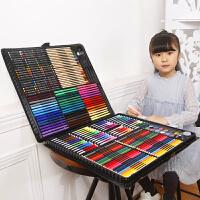 儿童画笔绘画套装美术工具学习用品小学生水彩笔礼盒女孩生日礼物 258件黑色套装送绘画和礼品袋