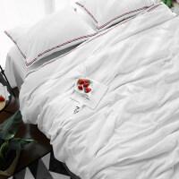 时尚简约全棉裸睡水洗棉四件套纯棉床品1.8m被套床单