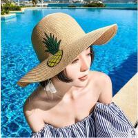 草帽女网红同款时尚新品防晒帽可折叠百搭出游遮阳帽菠萝绣花大沿沙滩帽