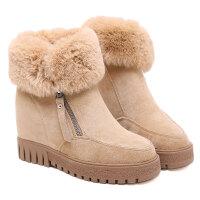 雪地靴女2018新款厚底内增高滑加绒侧拉链短筒棉鞋女冬
