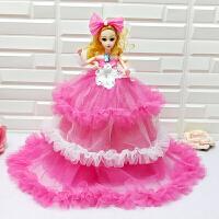 大裙摆拖尾婚纱娃娃小女孩生日礼物品人偶玩具童话公主女宝宝玩偶 40厘米娃娃