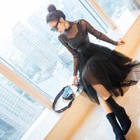 新年特惠气质女装2019新款裙子秋冬女神范名媛高腰裙黑色连衣裙套装裙 黑色