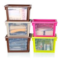 炫彩透明窗带盖收纳箱可叠加收纳柜五个装可叠加衣服内衣收纳盒 搬家塑料箱打包箱床底储物箱大号