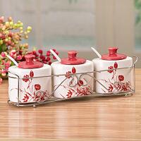 普润(PU RUN) 调味罐套装厨房调味瓶调料盒调料罐调味罐三件套 红色