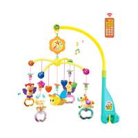 新生婴儿宝宝床铃0-1岁3-6-12个月玩具音乐旋转摇铃 非充电 遥控版 快乐森林 绿色