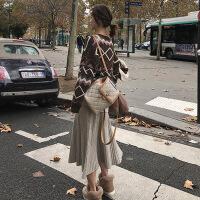热卖 羊绒针织半身裙女秋冬小个子中裙款加厚毛线韩版a字大摆伞裙