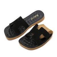 新款外穿时尚平底H拖鞋韩版室外滑沙滩一字拖凉鞋女夏