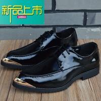 新品上市男韩版英伦尖头皮鞋潮流内增高透气真皮休闲男鞋时尚型师皮鞋男