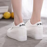 春夏新款厚底内增高帆布鞋女鞋韩版小白鞋网红可爱学生布鞋子