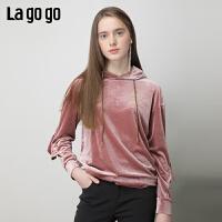 【清仓5折价131】Lagogo2019春季新款时尚粉色上衣淑女宽松连帽复古卫衣IAEE411A03