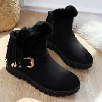 2018冬季新款女短靴加绒短筒时装靴流苏平底女靴子冬靴保暖雪地靴