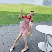 卡贝琳女红色小格子连衣裙收腰显瘦气质学院风甜美娃娃领裙2019年流行裙子