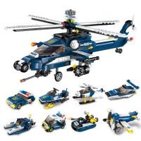 启蒙1801军事8合1风暴武装直升机儿童益智拼装积木男孩玩具飞机