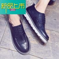 新品上市秋季皮鞋男韩版潮流英伦雕花休闲小皮鞋男士厚底内增高鞋子