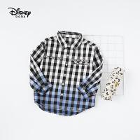 【2件3折价:89.7】迪士尼童装男童加绒保暖上衣宝宝开衫新款时尚黑白格子衬衫春秋专柜同款