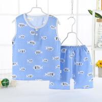 夏季儿童背心吊带婴幼儿棉绸睡衣薄款男童背心套装人造棉小孩童装