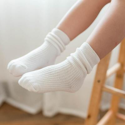 20195双 儿童袜子中筒袜春秋季男女童学生运动袜纯黑白长