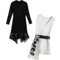 新年特惠时尚套装裙子2019秋冬季新款女装毛衣裙长袖蕾丝针织连衣裙两件套 白+黑【两件套】