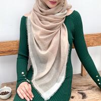 上海故事2019新款银丝边羊毛围巾女100%羊毛纯色男女通用超大披肩