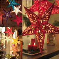 圣诞节装饰品立体镭射五角星酒吧吊顶挂饰纸星星场景灯罩