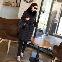 中长款羽绒服女2018冬装新款韩版收腰连帽保暖厚外套 黑色