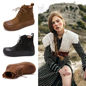 玛菲玛图马丁靴女2019新款松糕英伦风ins靴子春秋靴坡跟短筒冬季chic短靴70165-8