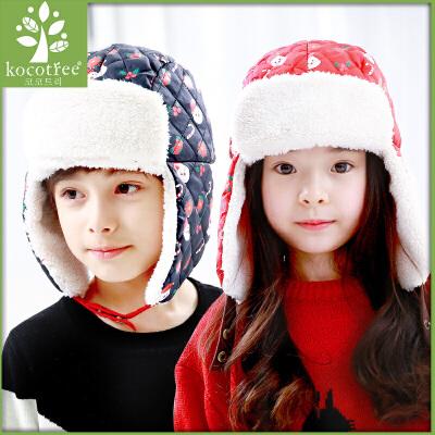 kk树男童女童宝宝秋冬季潮版儿童保暖加绒护耳帽小孩帽子保暖折叠护 加厚
