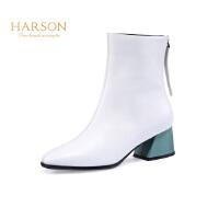 【 限时4折】哈森冬加绒保暖瘦瘦靴针织袜靴 显瘦弹力长靴过膝长靴女HA89402