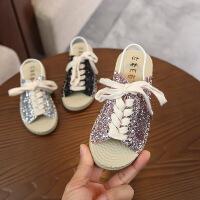 童鞋夏季休闲亮片女童沙滩鞋休闲软底儿童凉鞋