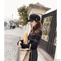 打底毛衣女秋冬装2018新款韩版修身条纹慵懒风喇叭袖针织衫潮 F