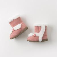 davebella戴维贝拉童装冬季新款女童靴子宝宝加绒保暖棉靴DB10948
